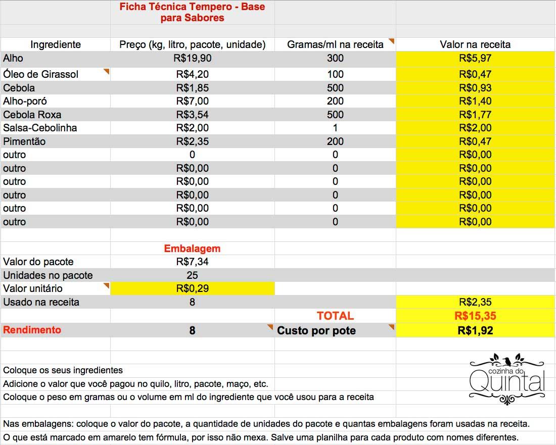 Exemplo de Ficha Técnica para Tempero Caseiro Cozinha do Quintal