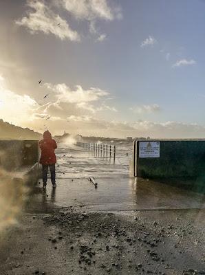 Photo of me taking storm photos on Maryport Promenade