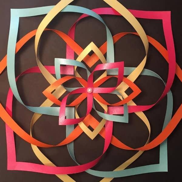 pastel ribbon-like dimensional paper sculpture