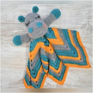 patron amigurumi Hipopótamo: manta de apego patrigurumis