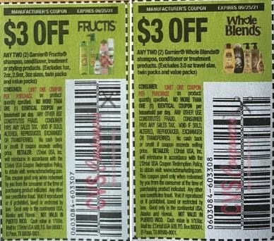"""-Garnier Whole Blends Shampoo, Conditioner Or Treatment Products Coupon from """"SAVE"""" insert week of 9/12/21."""