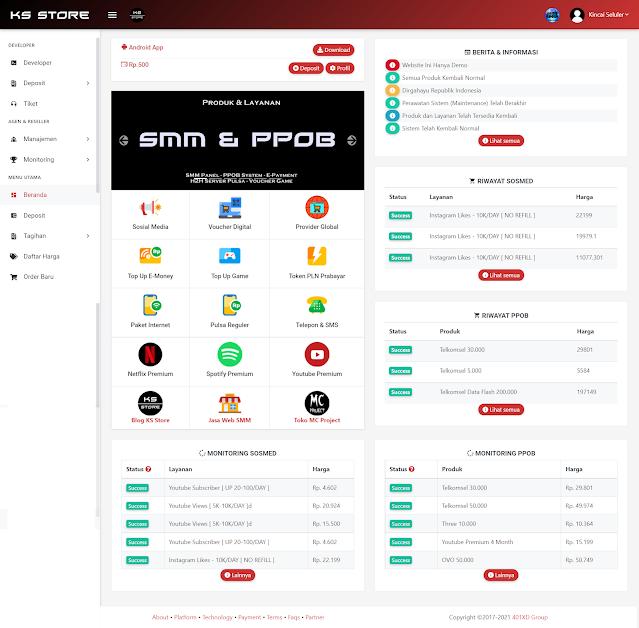Preview Dashboard Utama Panel SMM dan PPOB