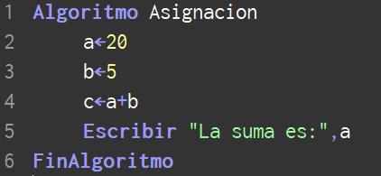 Asignar variable en PSeInt algoritmos
