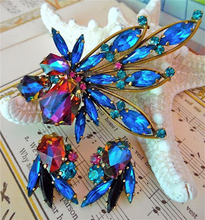 Image showing a Weiss jewellery geliotrope watermelon brooch and earring set in blue and orange colours.
