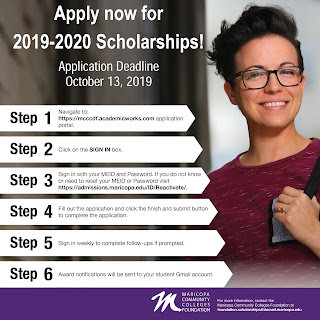 Graphic of student with steps on how to apply for the scholarship