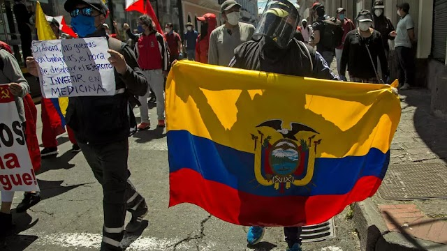 Protesters in Ecuador march against Covid-19 job and wage cuts on Monday