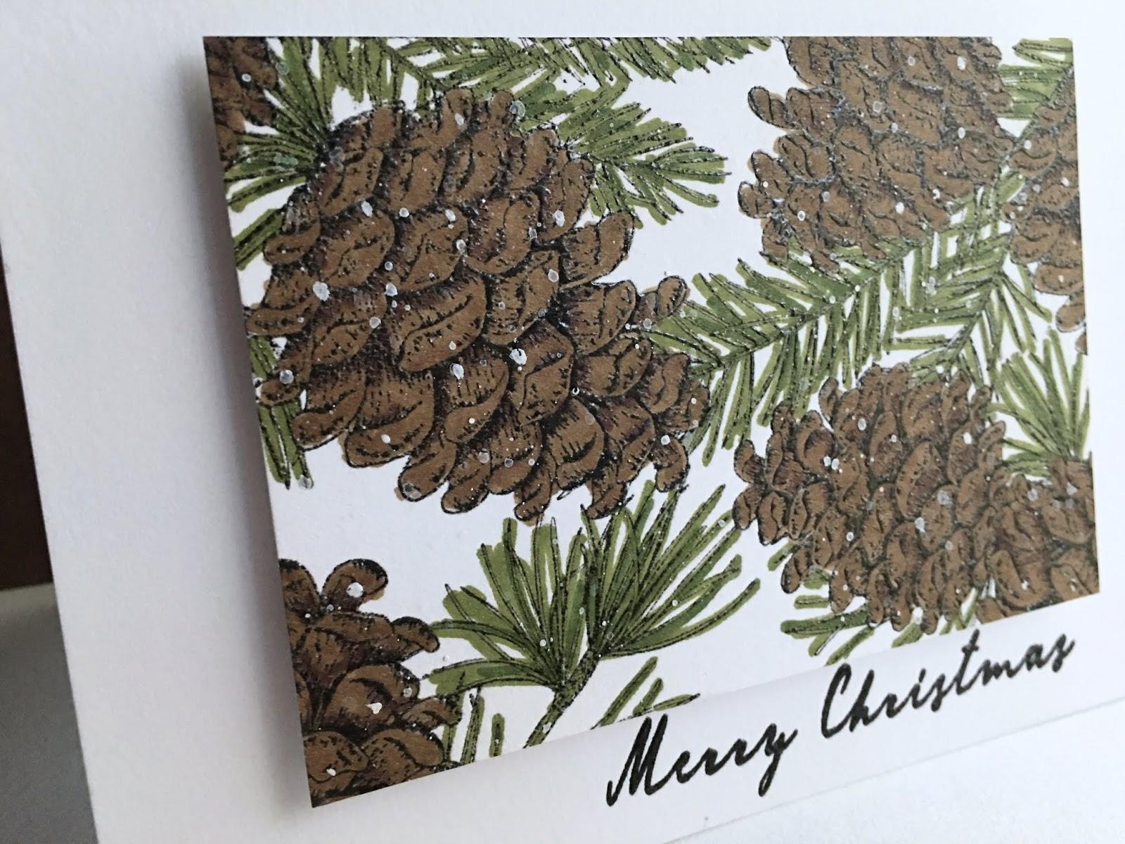 Wreath Christmas Holiday Evergreen Pinecones Beautiful! Inkadinkado Cling Stamp