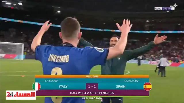 إيطاليا تتأهل لنهائي يورو2020  بفوز مثير ضد إسبانيا بركلات الترجيح