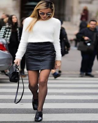 outfit con minifalda invierno