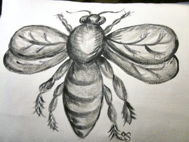 hand painted bee pillow design