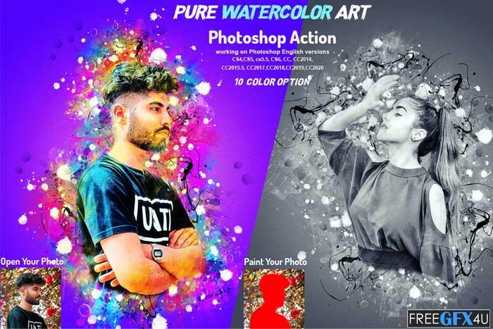 Pure Watercolor Art Photoshop Action