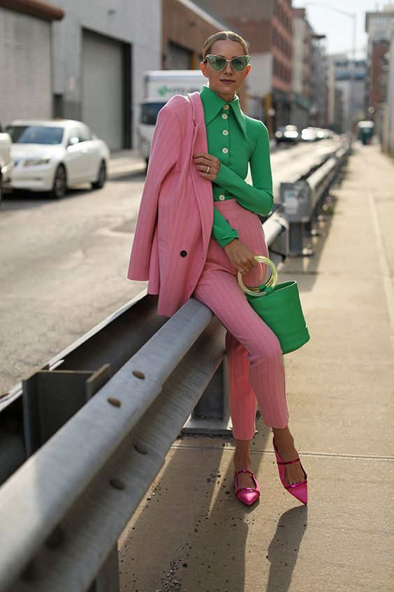 GREEN AND PINK OUTFIT IDEAS