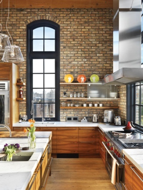 Traditional Kitchen With Brick Walls 2013 Ideas Home