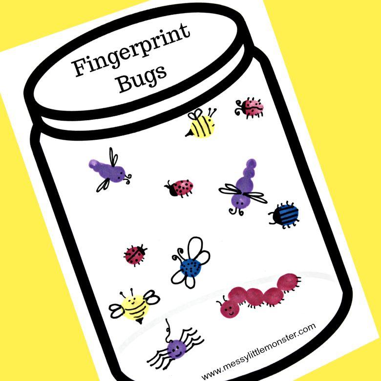fingerprint bug jar craft - summer camp craft for kids