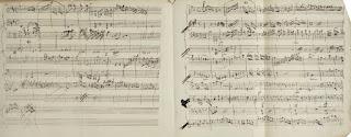 Litografía del comienzo del manuscrito autógrafo de Mozart de la obra K.381.