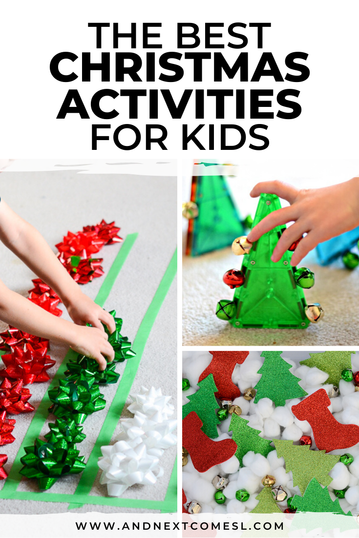 Christmas activities for kids, including sensory activities, Christmas printables, holiday crafts, and more!