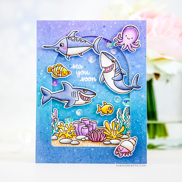 Sunny Studio Stamps: Tropical Scenes Stitched Semi-Circle Dies Sea You Soon Best Fishes Summer Themed Cards by Keeway Tsao