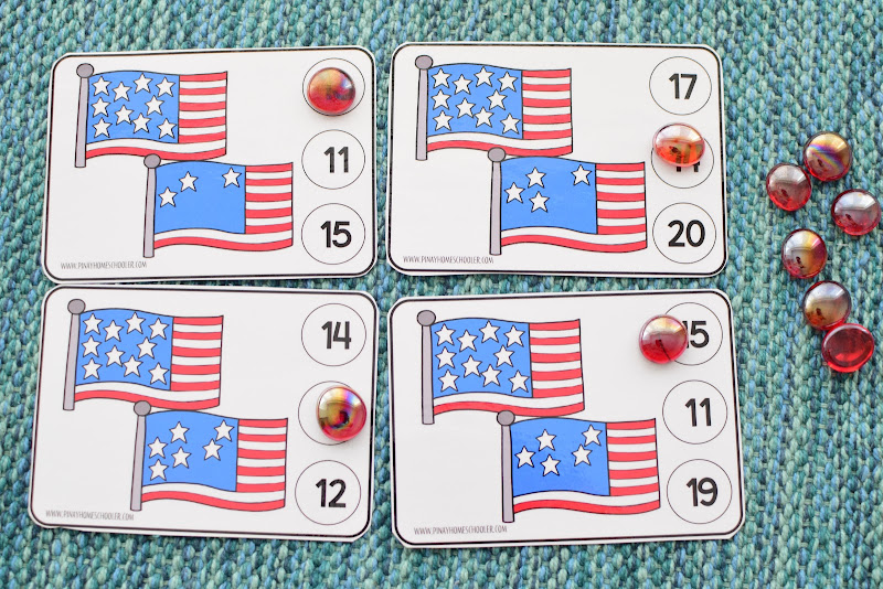 4th of July 1-20 Counting Clipcards
