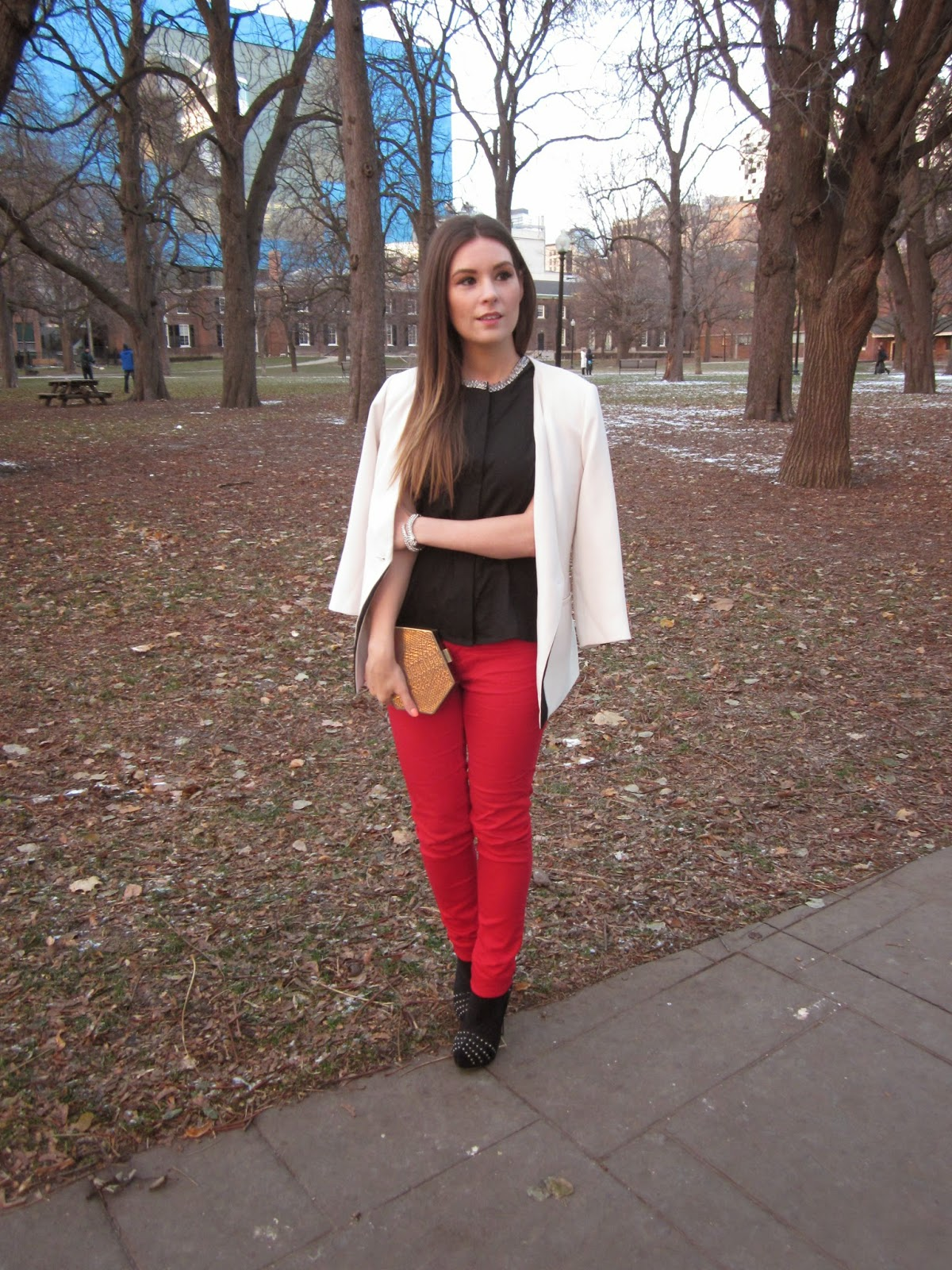 Philip Lim Target Style Workwear Red pants white blazer