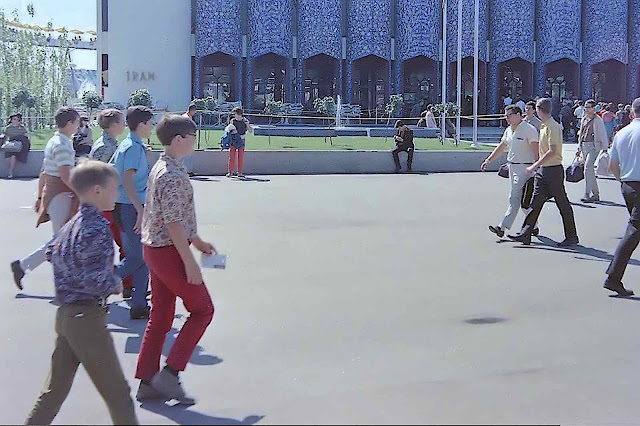 Montreal Expo 67 Iranian pavilion with mod fashion young boys walking past