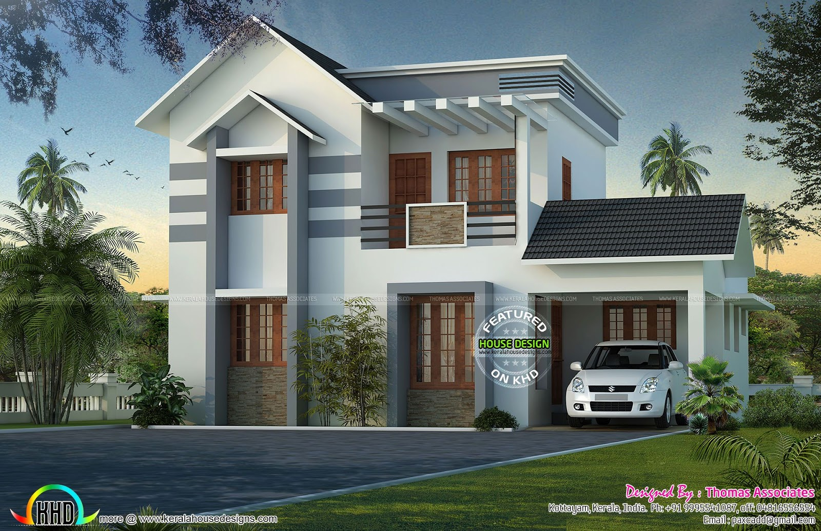 Grand looking simple 1450 sq ft home kerala home design for Minimalist house grand designs