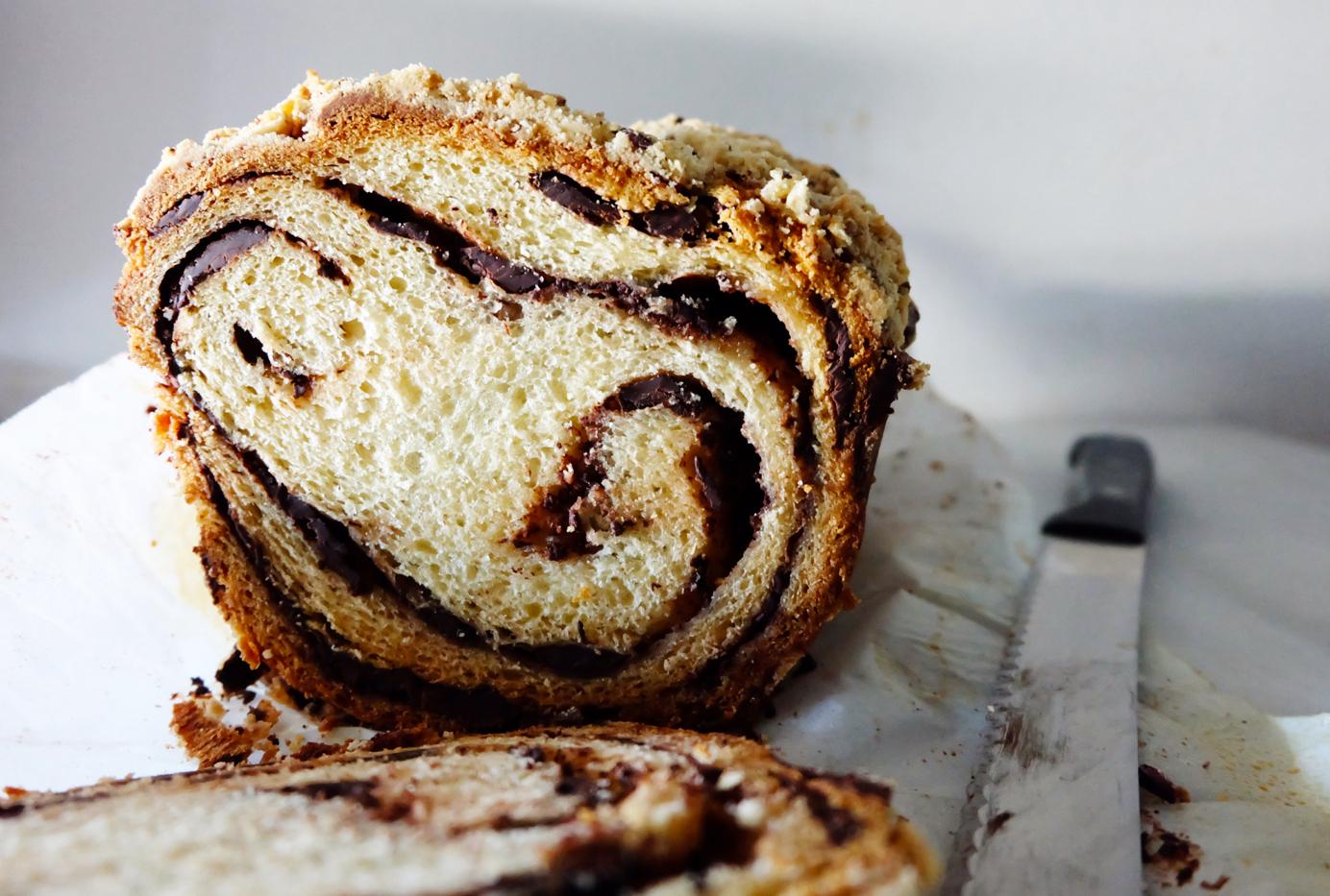 chocolate swirled coffee cake bread