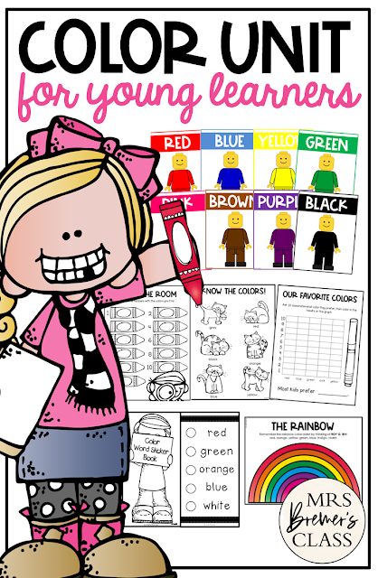 Color activities unit featuring color charts, learning color words, coloring pages, and many color activities for Preschool, Kindergarten and First Grade