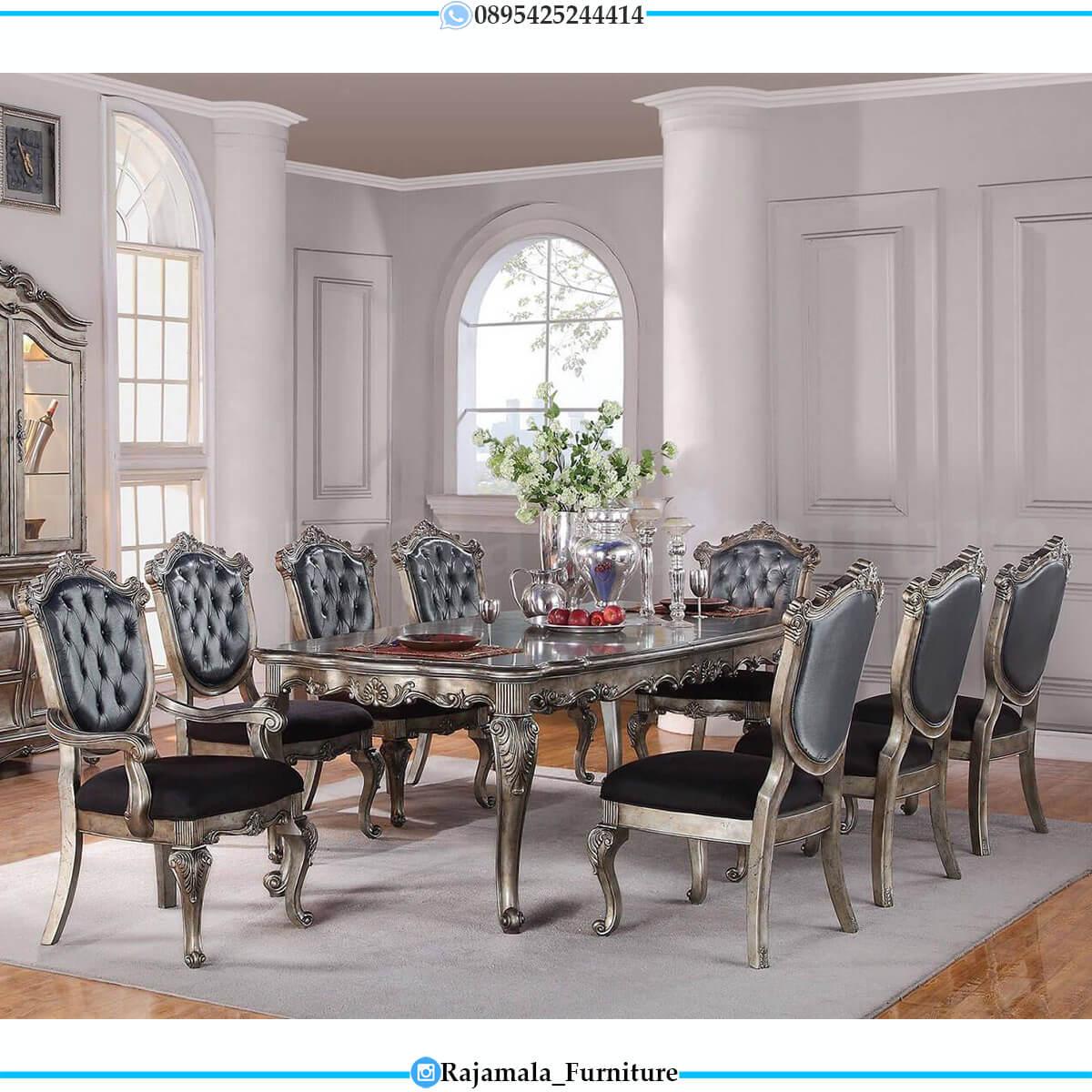 Meja Makan Mewah Ukiran Jepara Classic Luxury Putih Duco Glossy RM-0597