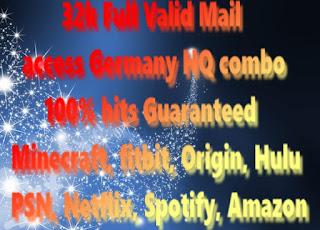 32k Full Valid Mail access Germany HQ combo 100% hits Guaranteed(Minecraft, fitbit, Origin, Hulu, PSN, Netflix, Spotify, Amazon)