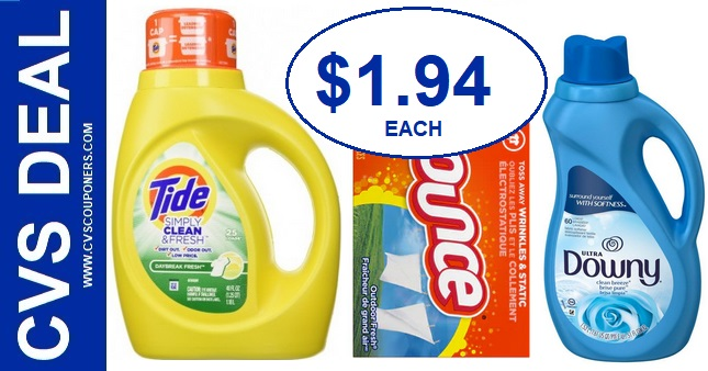 CVS Deal on Tide, Bounce or Downy 91-97