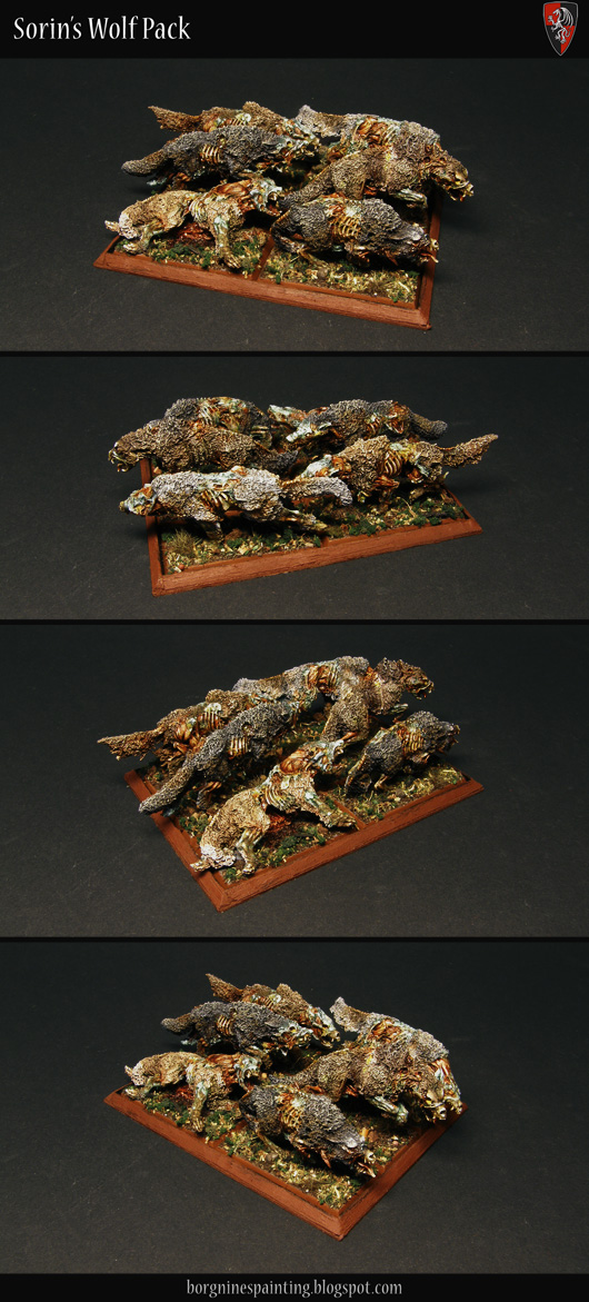 A unit of 6 Zombie Wolves miniatures from Gamezone, set up in a 3x2 formation and shown from several angles, to be used as Dire Wolves in WFB or AoS. They all have a slightly different fur color to differentiate them.