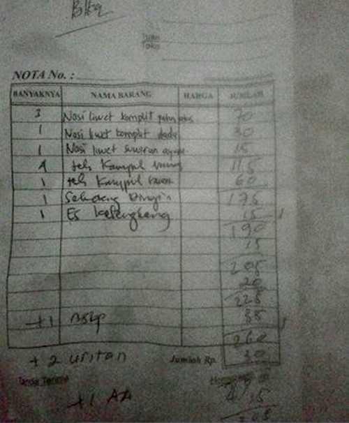 Nota Makanan Nasi Liwet Solo Harga Tak Wajar (facebook.com)