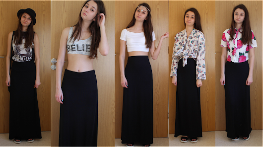 5 ways to style a black maxi skirt