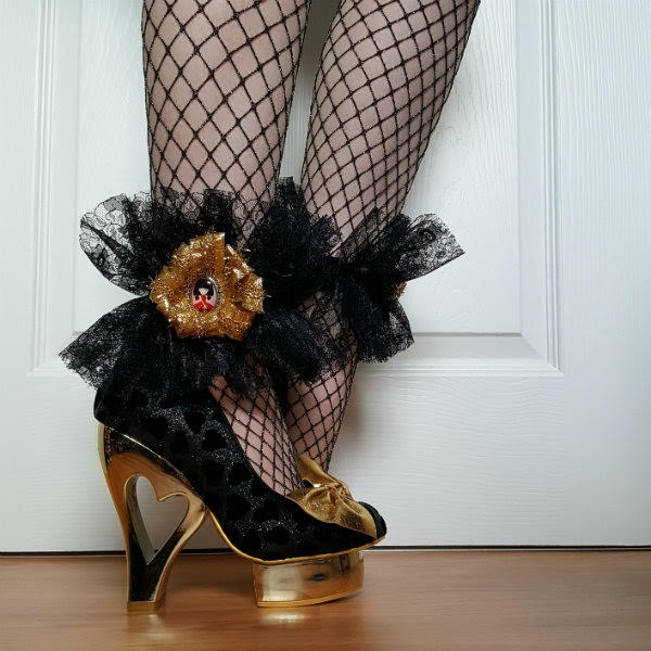 cut out heart heeled shoes with platform worn with handmade lace cuff with gold rosette