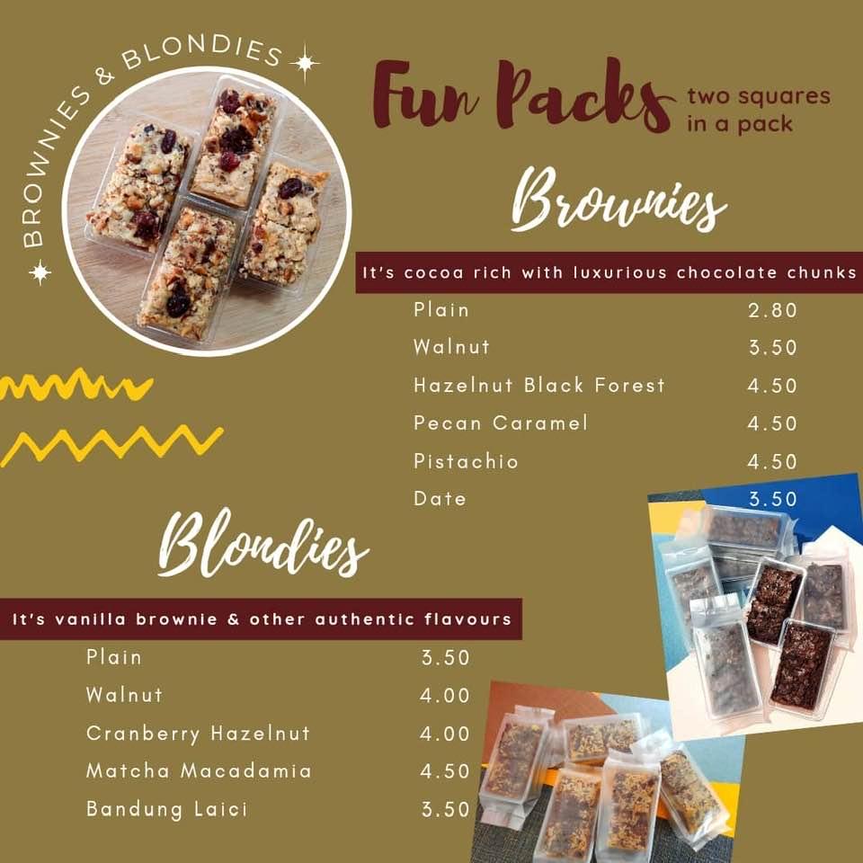 Brownies yang unik dengan pelbagai rasa  dari Kuih & Cakes - byfarahh.com