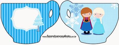 Tarjeta con forma de Taza de Frozen Niñas para Navidad Azul.