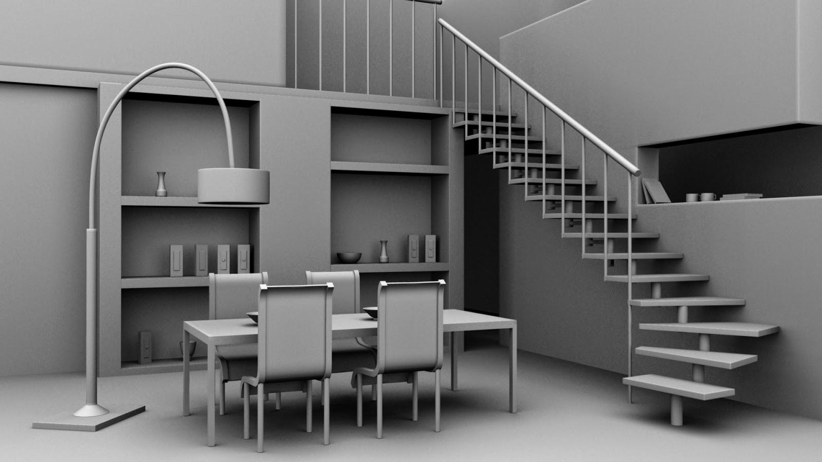 Home Design Interiors Software 3d Models In Autodesk Maya Interior Dining Area
