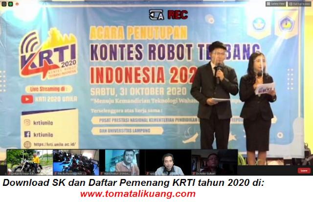 daftar pemenang kontes robot terbang indonesia krti tahun 2020 semua divisi tomatalikuang.com