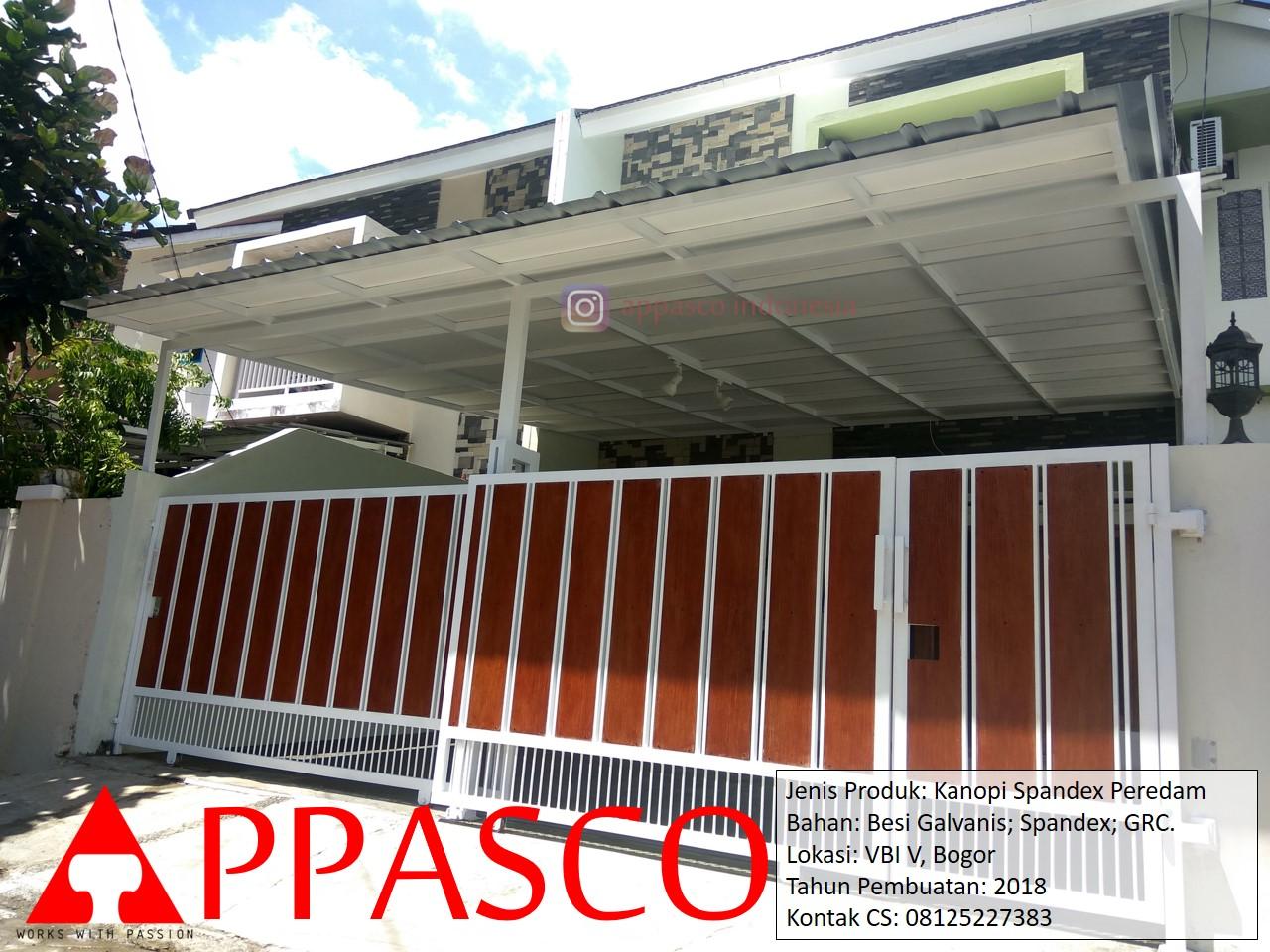Kanopi Spandek Peredam Besi Galvanis di Villa Bogor Indah