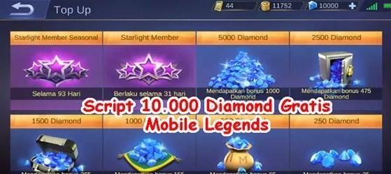 Script 10.000 Diamond Gratis Mobile Legends Patch Terbaru 2021