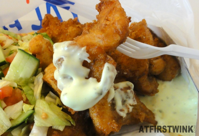 Kibbeling (pieces of fried fish) with ravigotte sauce from Royal Fish, Markthal in Rotterdam