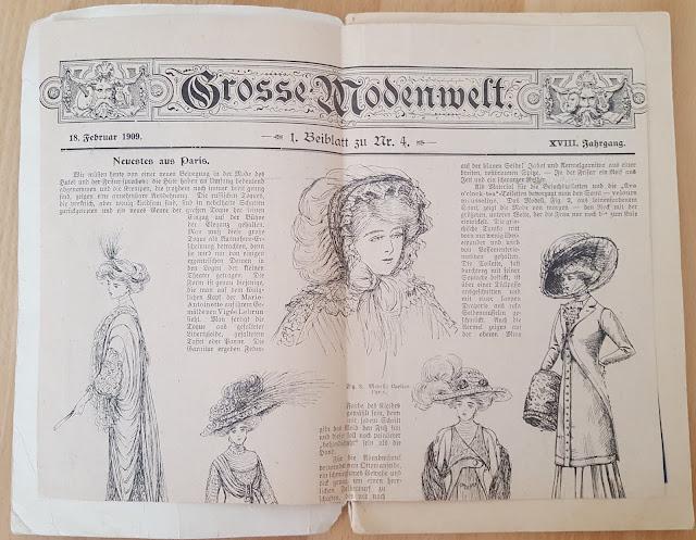 vintage sewing pattern magazine schnittmuster retro cut sewing pattern schicht kalender 1909 1900, jahrhundertwende Brautschatz