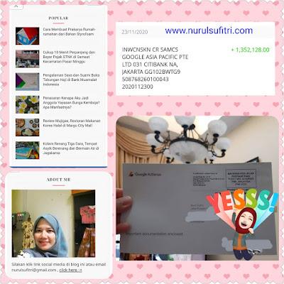 Google AdSense USD 100 Gaji Pertama Cair Nurul Sufitri Travel Lifestyle Blog