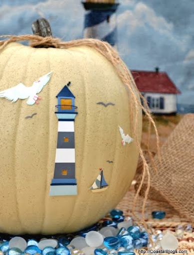 pumpkin with beach lighthouse stickers