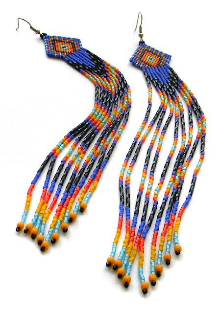 купить этнические изделия из бисера очень длинные синие серьги