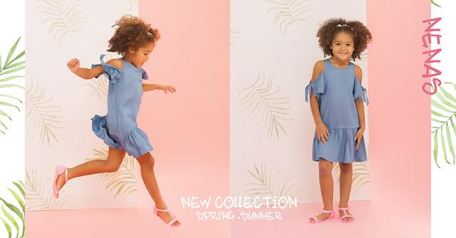 Vestidos primavera verano 2018. Núcleo Nenas vestidos, faldas, blusas, shorts y pantalones primavera verano 2018.