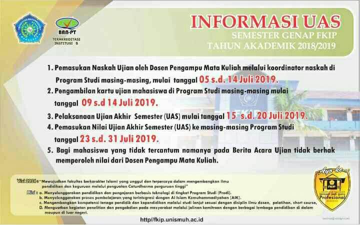 Info Ujian Akhir Semester Genap 2018/2019