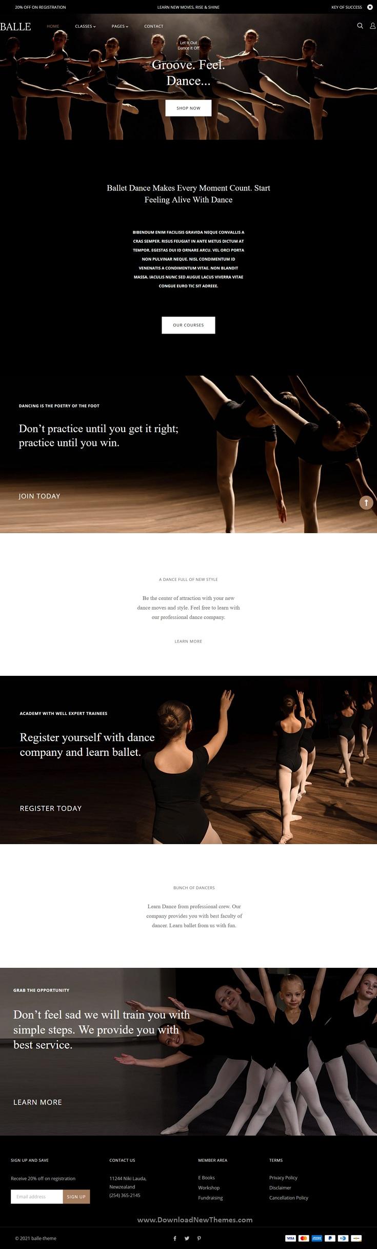 Dance Studio Shopify Theme