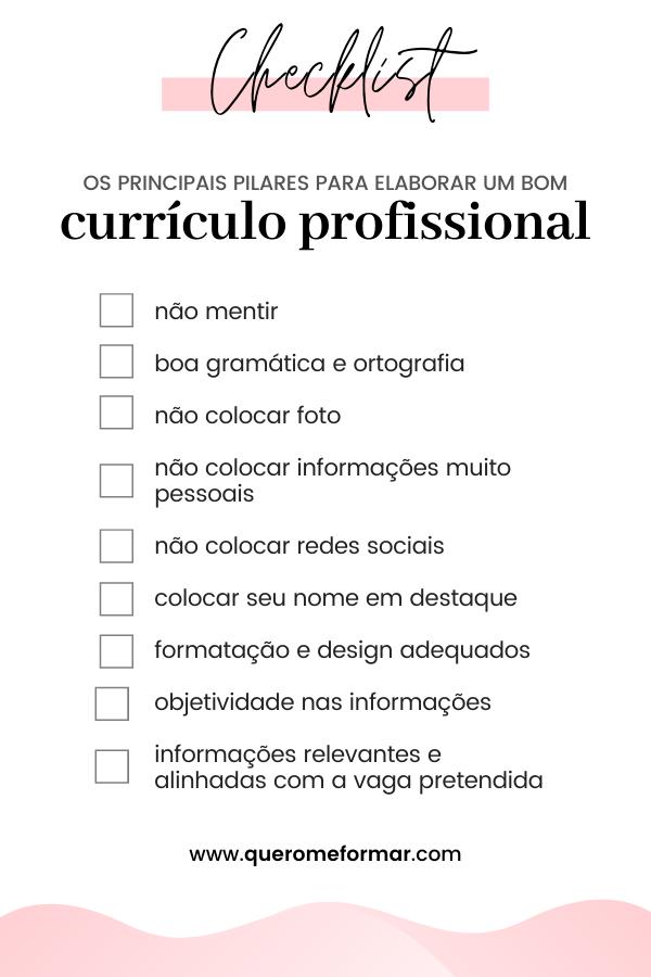 Checklist com Dicas Essenciais de Como Elaborar um Bom Currículo Profissional (CV) 2020