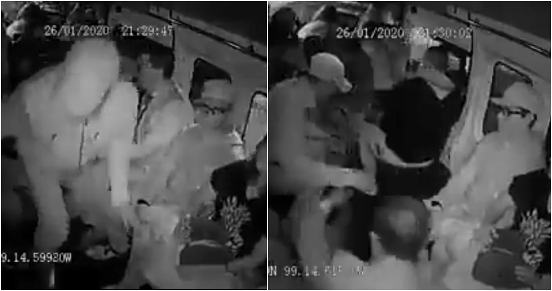 """VIDEO: """"¡Dame el celular chido!"""", exige uno de los lacras a pasajero en una combi en Naucalpan, Edomex"""